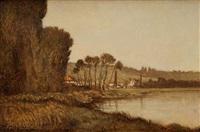 bord de rivière by emile charles lambinet