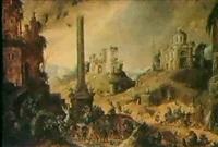 scene de sabbat dans un paysage de             ruines fantastiques by claes dircksz van der heck