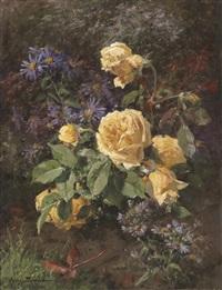 blumenstück mit gelben rosen by aymar (aimard alexandre) pezant