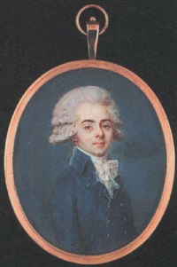 a young gentleman wearing double-breasted blue coat and white lace cravat, his hair powdered and en queue by louis-andré fabre