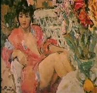 la jeune femme en rouge by viktor reikhet