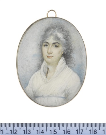 a lady called miss fletcher wearing white dress narrow sky blue ribbon waistband a black cord suspended from her neck her powdered hair partially upswept and dressed with a white bandeau by george chinnery