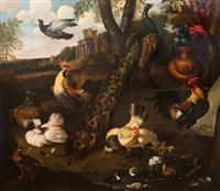 naturaleza muerta con aves y arquitecturas by melchior de hondecoeter