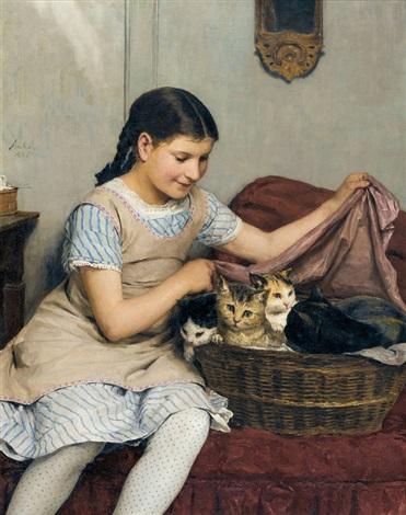 mädchen mit katzen by albert anker