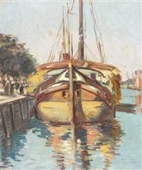 middlebourg, bateau amarré by henri alberti