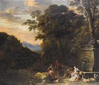 paesaggio italianizzante con pastori presso una fontana by gaspar de witte