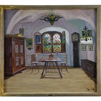 austrian interior with stained glass window by jakob koganowsky