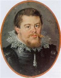 a portrait of a bearded man, wearing a black suit by franz husanus