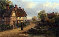 country landscape with lady before a cottage by thomas smythe