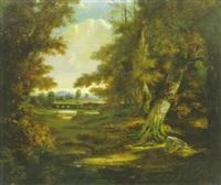 paysage, soleil couchant by françois frédéric grobon