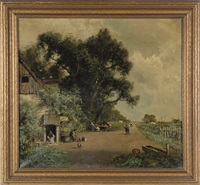 a french vineyard landscape with figures at table under shade tree, roadside wine stop by ransom gillet holdredge