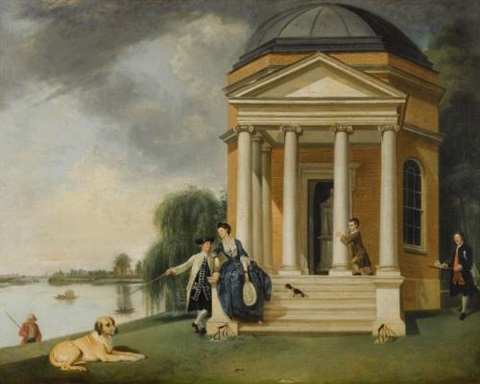 the garden at hampton house with mr and mrs david garrick taking tea the shakespeare temple at hampton house with mr and mrs david garrick pair by johann joseph zoffany