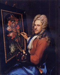portrait of the painter coenraet roepel painting a still life with flowers and fruit by richard (risaert van) bleeck