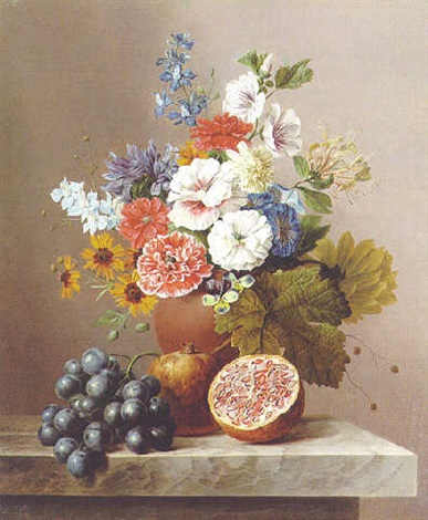 flowers in a vase with a cluster of grapes and pomegranates on a stone ledge by arnoldus bloemers
