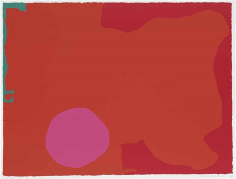 abstract in orange and red by patrick heron