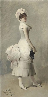 portrait of a lady in masquerade ball costume by jean béraud