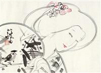 日本小女 镜片 设色纸本 by lin yong
