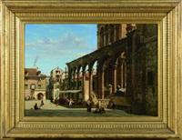 cour de la cathédrale animée à split (dalmatie-croatie) by jean baptiste van moer