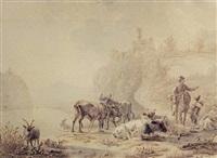 paysans et troupeau dans un paysage fluvial by matthijs quispel