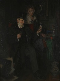 an interior scene by karl gussow