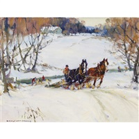 horse and sleigh in winter by manly edward macdonald