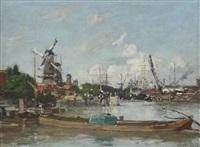 rotterdam. port et moulins by eugène boudin