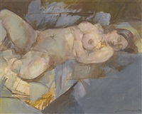 untitled (reclining nude) by jamil naqsh