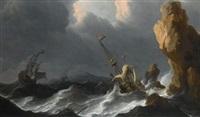 a shipwreck in a heavy storm along a rocky coast by aernout (johann arnold) smit