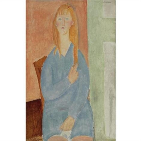 jeune fille assise les cheveux dénoués jeune fille en bleu by amedeo modigliani