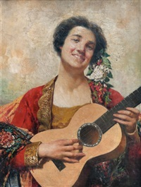 dama con guitarra by temistocle lamesi