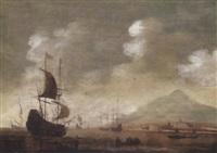 küstenlandschaft mit ankernden schiffen bei ruhiger see by jacob knyff