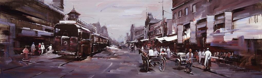 历史的风景有轨电车与老商铺 historical landscapetrams and old shops by liu lei