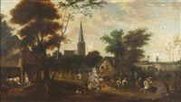 a busy village scene with carousing figures and distant windmill by thomas van apshoven
