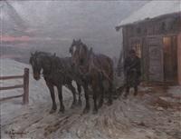 hästar i vinterlandskap by alexander langlet