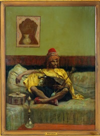 seated turkish man with hooka by charles bargue