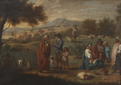 a traveling company in the countryside by abraham teniers