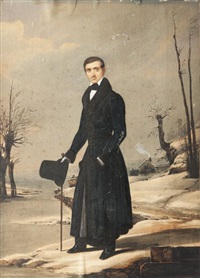 portrait d'un homme en manteau noir dans un paysage d'hiver (+ 2 others, smllr; 3 works) by william john (sir) newton
