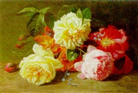 summer roses on a bank by albert raoux
