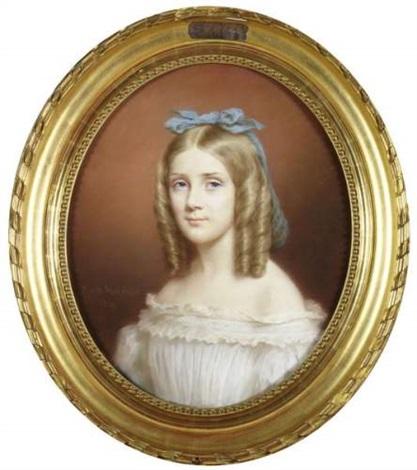 portrait de jeune fille au ruban bleu by marie verroust