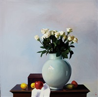 still-life with white roses by koo chaseung