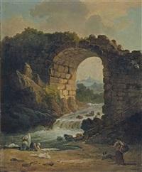 lavandière près d'une arche de pierre et d'une chute d'eau by hubert robert
