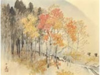 on the way home in autumn by gyokudo kawai