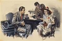 two men in office with distraught woman (illus. for saturday evening post) by john gannam