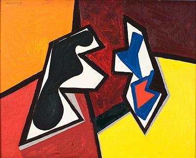 figurale komposition in rot und gelb by erhard hippold