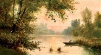 pescando al atardecer by serafín avendaño