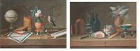 composition aux instruments géographiques et composition au déjeuner (pair) by lelong