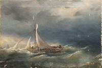 voilier rentrant au port dans la tempête by lev felixovich lagorio