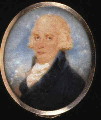 a gentleman with powdered hair wearing a blue coat with a white cravat cloud and sky background by edward miles