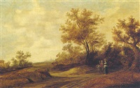 a dune landscape with figures by a track by jacob van mosscher