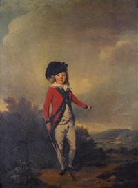 portrait of john windham dalling as a young boy, dressed in the uniform of a militiaman, holding a rifle, standing in a landscape and pointing to a military exercise between redcoats in the distance by philipp reinagle